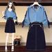 【set】好感度UPカジュアル2点セットリボントップス+スカート合わせやすい