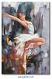 プロのアーティストによるキャンバスに手描きされたダンサ少女の油絵
