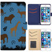 Jenny Desse Galaxy S6 Edge SC-04G ケース 手帳型 カバー スタンド機能 カードホルダー ブルー(ホワイトバック)