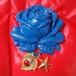 205 大きな薔薇の帯飾り(青)