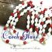 かわいいキューブ型★ボヘミアン ミルクガラス ヴィンテージ ロング ネックレス 赤 白 チェコガラス
