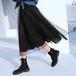 【送料無料】マストアイテム チュール プリーツスカート 黒 無地 シンプル ロング カジュアル