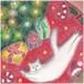 クリスマスツリーとネコ(パステル画 原画) 額装込み