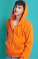P1416メンズ ジップアップ パーカー トレーナー スウェットシャツ ゆったり 大きいサイズ レディース 無地 男女兼用 オレンジ
