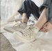 レディース スニーカー スニーカー キャンバス ハイカット レースアップ 春 新生活 運動靴 デイリー カラー豊富 定番人気 フラット 厚底 歩きやすい 痛くない ピンク 黒 ブラック ベージュ 通勤 通学 学生 韓国