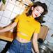 【トップス】ファッション透かし彫りタイトカシュクールTシャツ18940551