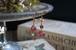 チェコガラスビーズ 赤いバルーンのアシンメトリーピアス