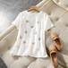 【tops】好感度UPエレガントラウンドネック爽やかな印象ゆったり2色Tシャツ