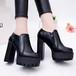 ショートブーツ 厚底 12cm ヒール サイドジップ 太ヒール 防水 プラットフォーム 韓国ファッション レディース ブーツ 歩きやすい 履きやすい 561154333949