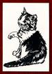 切り絵ポストカードno026 チョイチョイする猫(E-4-03126)