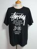 stussy 30周年ワールドツアーTシャツ SSリンク シャネルロゴ カットオフ&ダメージ 黒 表記(XL)