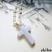 天然石のクロスネックレス【cross necklace<Blue lace agate>】