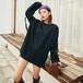 ゴスロリ系 セーター ストラップベルト デザインシャツ 長袖 黒 病み可愛い v系 ストリート系 原宿系 10代 20代