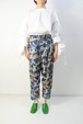 3-191-418 Float rose Tuck Pants [Beige x Blue] size:Free