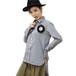 ギンガムチェックの服 コサージュ付き    gingham check blouse with ILicca corsage