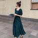 【dress】ファッションand清新!スウィートスクエアネックデートワンピース M-0286