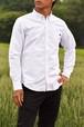 トラクター刺繍入り 長袖ボタンダウンシャツ ホワイト