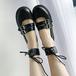 レースアップ 革靴 アンクルベルト ダブルストラップ チェック中敷き ラウンドトゥ ローヒール 厚底 合皮 革 黒 ブラック ロリータ 個性的 春秋 かわいい おしゃれ 韓国