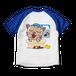 <ラグランTシャツ ホワイト×ロイヤルブルー>両面印刷 お風呂みーちゃん