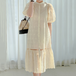 【dress】高級感 シンプル無地レース切り替え透かし彫りデートワンピース2色