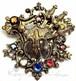 チェコガラス☆CZECHOSLOVAKIA刻印 剣と盾 アンティークフィリグリーブローチ,1930's