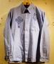 RAKUGAKI NEON Embroidery OX Ford Shirts Blue × Navy