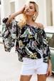 シンプル オフショルダー 花柄ブラウス 女性 フレアスリーブ ボヘミアン ビーチ ブラウス シャツ カジュアル 春 夏トップス2018