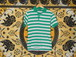 USA古着ポロシャツS緑×白ボーダcampus esprit55/45極美品