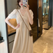 【dress】気質溢れる 人気デザインVネック質感のいい シンプルデートワンピース