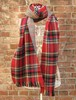 TheDelight REVERSIBLE CHECK & TIDORI STOLE RED&BEIGE