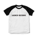LAUNCH RECORDS ラグランTシャツ(ホワイト×ブラック)