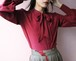 burgundy silk bow tie blouse