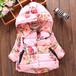送料無料 あったか花柄コート【90サイズ】アウター 中綿ピンク パープル