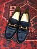.GUCCI UNBORN CALF LEATHER LOGO LOAFER MADE IN ITALT/グッチハラコレザーロゴローファー 2000000043401