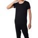 カシミヤ100%クルーネック半袖シャツ ブラック メンズニット 柔らかく暖かい