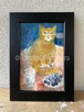 原画「猫と葡萄とコップ」ポストカード原画