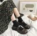 レディース ストラップシューズ 革靴 ラウンドトゥ チャンキーヒール ガーリー フェミニン 春秋 黒 ブラック 茶 ブラウン ロリータ 韓国