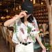 【送料無料】ブラウス シャツ 半袖 オープンカラー 襟付き フロントボタン ボタニカル リーフ柄 シフォン ゆったり 透け感 大人カジュアル 大人可愛い ナチュラル 春夏 リゾート 海 ビーチ バカンス ハワイ 旅行 お出かけ デート 女子会