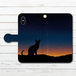 #000-029 手帳型iPhoneケース 手帳型スマホケース 全機種対応 iPhoneXS/X セール 猫 おしゃれ Xperia iPhone5/6/6s/7/8 かわいい ネコ Galaxy ARROWS AQUOS HUAWEI Zenfone タイトル:宵闇のねこ
