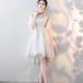 フィッシュテール ドレス シースルー 上品 清楚 膝上丈 パーティー 二次会 お呼ばれ 結婚式(F042)
