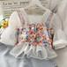 オシャレ 夏 可愛い スクエアネック 半袖 レース 花柄 トレンド ブラウス・トップス