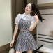 【set】美人度アップスウィート2点セット切り替えトップス+スカート超人気 M-0525