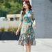 【dress】美人度アップエレガントVネックチュニック花柄ワンピースゆったり2色