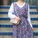 USA VINTAGE FLOWER PATTERNED LINEN NO SLEEVE ONE PIECE/アメリカ古着花柄リネンノースリーブワンピース