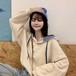 ジェントル 柔らか 韓国ファッション ジェントル カジュアル 上品  カジュアル 長袖 パーカー・トップス