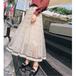 【送料無料】ドット柄 ロング フレア レトロ ガーリーディテール チュール スカート