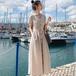 【dress】おしゃれ!Vネックシンプル優しい雰囲気デートワンピース2色 M-0170