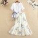 【set】優しい雰囲気セットアップVネックリボン付きシャツ+プリントスカート