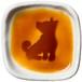 おすわりポーズの柴犬のシルエットが浮かぶお醤油小皿(四角)