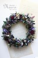 クリスマスリースオリーブの葉とパープルフラワーのリース SFW14-6